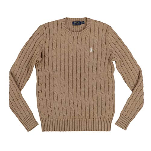 Polo Ralph Lauren Womens Cable Knit Crew Neck Sweater (Medium, Brown)