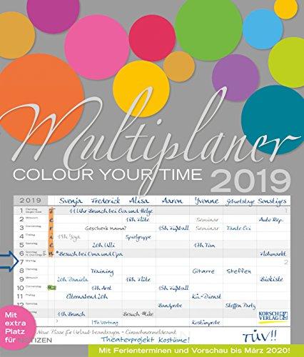 Multiplaner - Colour your time 240219 2019: Familienplaner, 7 breite Spalten. Großer Familienkalender mit Ferienterminen, extra Spalte, Vorschau für 2020 und Datumsschieber. Format: 40x47 cm