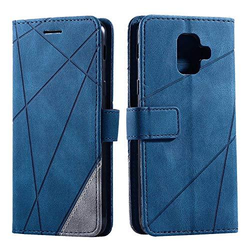 Hülle für Samsung Galaxy A6 2018, SONWO Premium Leder PU Handyhülle Flip Case Wallet Silikon Bumper Schutzhülle Klapphülle für Galaxy A6 2018, Blau