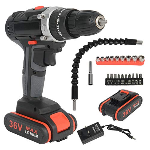 ColdShine Cordless Electric Drill 36V 2 Speed Impact Electric Drill Screwdriver Cordless Drill Driver Electric Screwdriver Cordless 2 Gear Combined Electric Drill