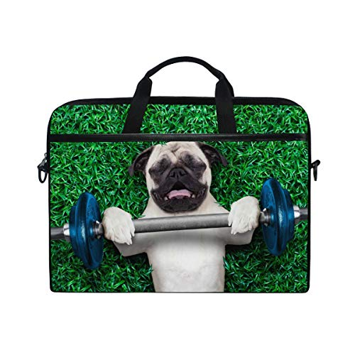EZIOLY Port Dog Pug Laptop Shoulder Messenger Bag Case Sleeve for 13 Inch to 14 inch Laptop