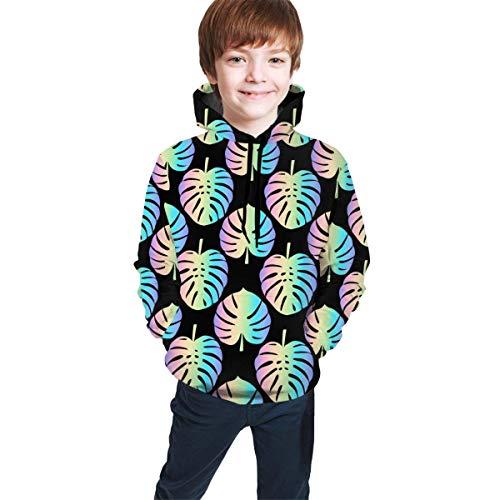 Hidend Kinder Kapuzenpullover Sweatshirt, Holographic Monstera Leaves Kids Cute Hooded Sweatshirts 3D Print Hoodies with Pockets