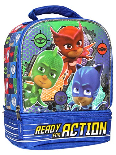 PJ Masks Ready For Action Dual Compartment Insulated Lunch Bag Tote