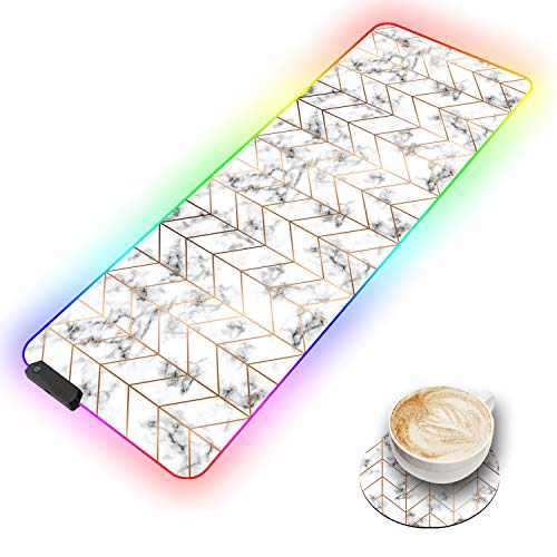 RGB Gaming Mouse Pad and Coffee Coaster,10 Light Modes LED Soft Extra Extended Large Mousepad, Non-Slip Rubber Base Computer Keyboard Mouse Mat with Durable Stitched Edges,Marble Texture