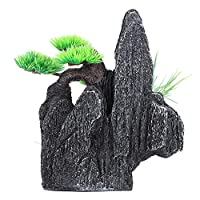 𝐂𝐡𝐫𝐢𝐬𝐭𝐦𝐚𝐬 𝐆𝐢𝐟𝐭 小さな植物による非毒性緑の素材ユニークなスタイル高度なシミュレーション効果水族館の石の装飾、強い水族館のマウンテンビュー、水槽用