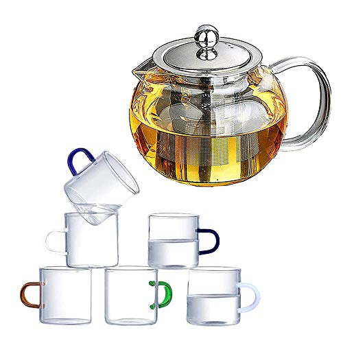 Glass Teapot with Removable Infuser Stovetop Safe KettleGlass Filter Teapot Blooming and Loose Leaf Tea Maker Set with 6 teacups32oz/950ml