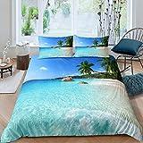 dsgsd Juego de funda nórdica 3D de 3 piezas Cielo azul mar playa planta palmera paisaje 180x220cm Juego de ropa de cama de estilo simple, funda de edredón suave, sábana, fundas de almohada, ropa de ca
