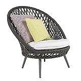 Sillón de ratán Tejido para el Almuerzo, sillón de Ocio, balcón, sofá, sillón de Mimbre de jardín de Patio al Aire Libre de ratán PE(Color:Gray)