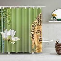 YZ&YL カスタムサイズ 3D仏植物プリントバスカーテン防水ポリエステル生地バスルームシャワーカーテンスクリーンフック付きバスルームカーテン(180*180)