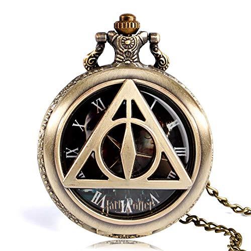 SSJIA Triángulo de Bronce Retro The Lord Collar de Reloj de Bolsillo de Cuarzo para Hombres y Mujeres-Oscuro