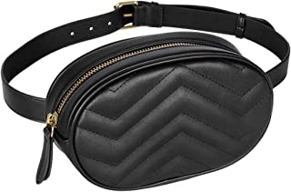 Women Waist Bags Waterproof PU Leather Belt Bag Fanny Pack Crossbody Bumbag for Party, Travel, Hiking (Black)