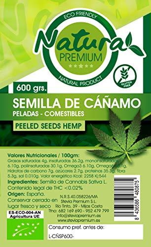 Natura Premium - Semilla Pelada Bio de Cañamo, 600 g