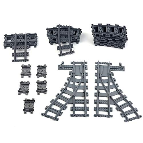 Ditzz Bausteine Schienen Set, 26 Teile Eisenbahn Schienen Erweiterungsset mit Gerade Schienen+Kurven+Flexschienen+Kreuzung, Kompatibel mit Lego