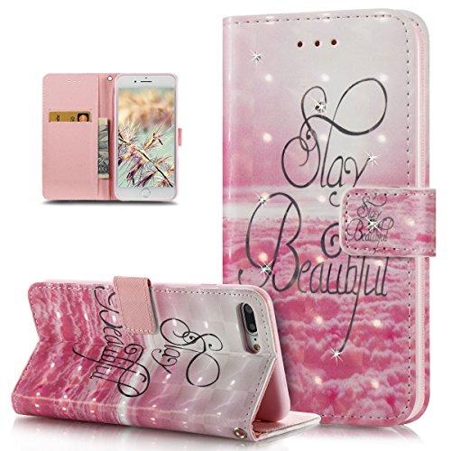 ikasus Coque iPhone 8 Plus/7 Plus Etui,Bling Brillant Diamants 3D Art coloré peinte Housse Cuir PU Housse Etui Coque Portefeuille supporter Flip Case Etui Housse Coque,Nuages roses