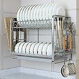 Estante de Almacenamiento de Cocina Multifuncional 304 Estante de Plato de Doble Capa de Acero Inoxidable para Colgar en la Pared Vajilla de Almacenamiento Filtro de Drenaje Estante para Platos Esta