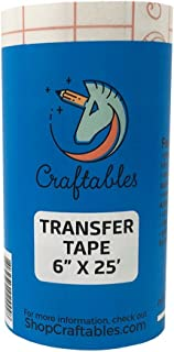 Craftables CLEAR Vinyl Tranfser paper tape roll w/alignment grid and easy release paper | 6