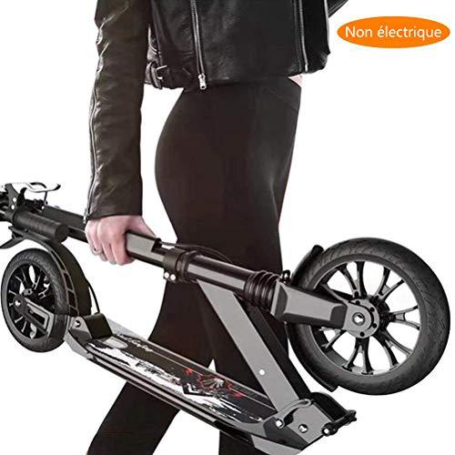 Roller Erwachsene, Adult Kick Scooter mit großen Rädern und Scheibenbremse, Dual Suspension Folding Commuter Scooter mit Tragetasche - Unterstützt 100 kg (Color : Black)