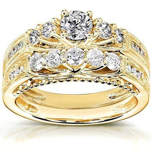 Pinhan - Juego de anillos de boda de oro con diamantes artificiales para parejas, accesorios y anillo de compromiso 6# dorado