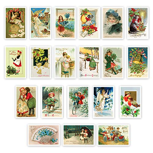HOLIDAYS Vintage Reprints 1907-1941 postcard set of 20. Festive post card variety pack of 20 postcards. Made in USA.