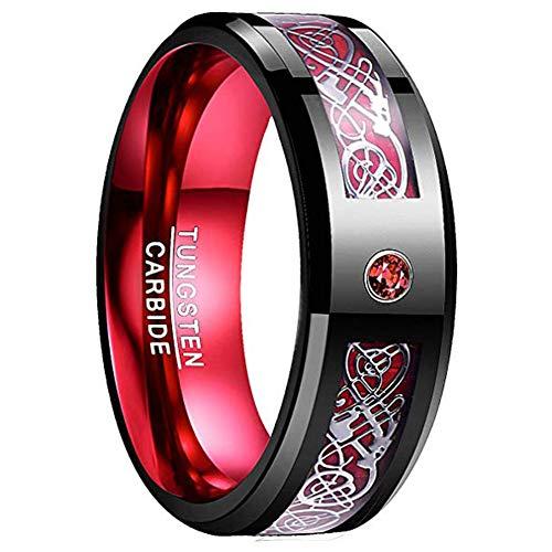 Nuncad Tungsten Wedding Ring Celtic Dragon Red Carbide Fiber Black Beveled Edges Dragon Celtic Ring Size 7