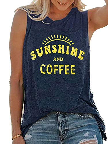 Umsuhu Sunshine and Coffee Tank Casual Summer Graphic Tank Tops for Women Sleeveless Graphic Tank Tops Tee Shirts (Large, Blue)