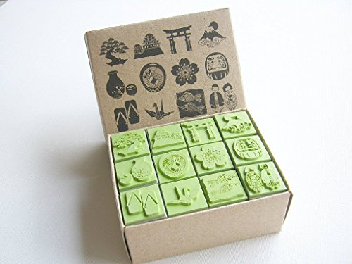 Np Crafts 12 Kids Rubber Stamp Scrapbook Supply Stamper Sakura Japanese Sarus Crane Dolls High Quality Rubber Stamp Set