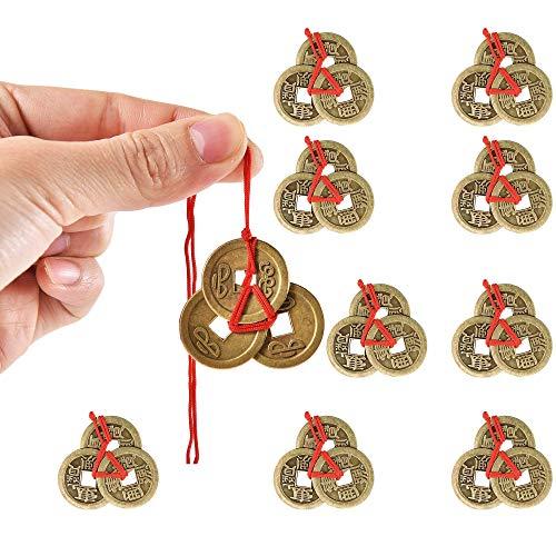 10 Pcs Moneda de la Suerte China Antigua, Juegos de Monedas Chinas Monedas de Fortuna Monedas Feng Shui Monedas de Suerte Monedas de I-Ching con Cordel Rojo,Incluye Cinta de Color Rojo,Riqueza y éxito