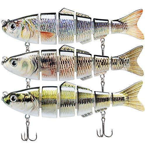 TRUSCEND Señuelos Pesca para Lubina Lucio Carpa, Pesca Accesorios, Cebo Swimbait de Hundimiento Lento , Kit de Pesca , Regalos Pesca para Hombre
