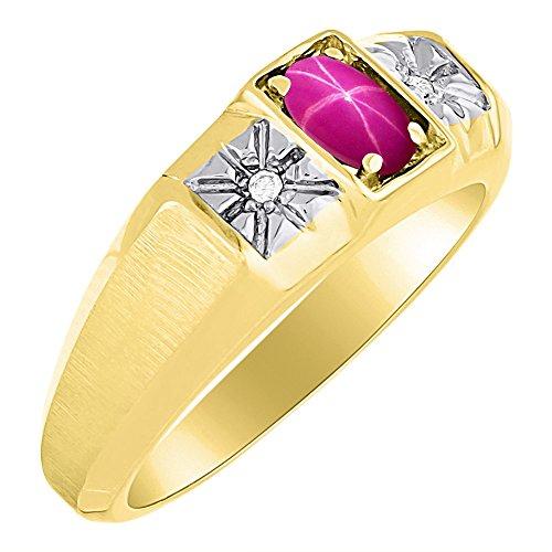 RYLOS Anillos para hombre de oro amarillo de 14 quilates – Anillo de rubí y diamante de 6 x 4 mm de color de piedra preciosa anillos para hombres joyería de oro