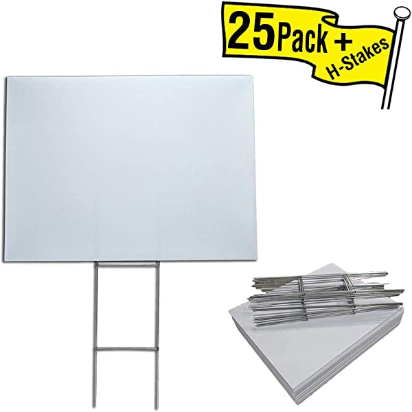 Box Of 25 Blank Yard Signs 18x24 With H Stakes For Graduations Political Parties Businesses Or Garage Sales