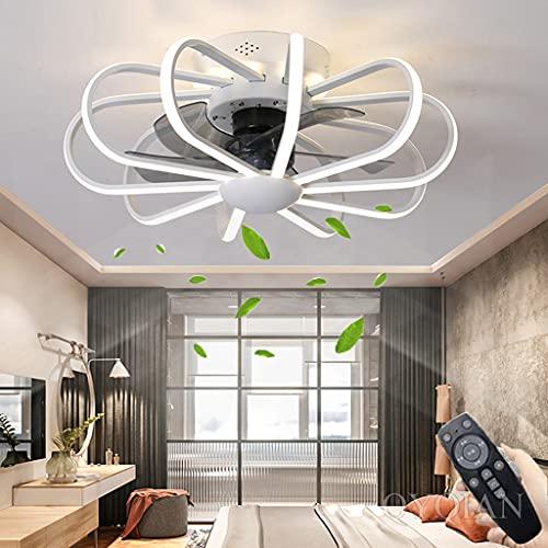 Ventilador De Techo LED Con Lámpara Ventilador De Dormitorio Silencioso Moderno Con Control Remoto Regulable 3000K-6000K Ventilador Invisible Lámpara De Techo Para Restaurante Sala De Estar (White)