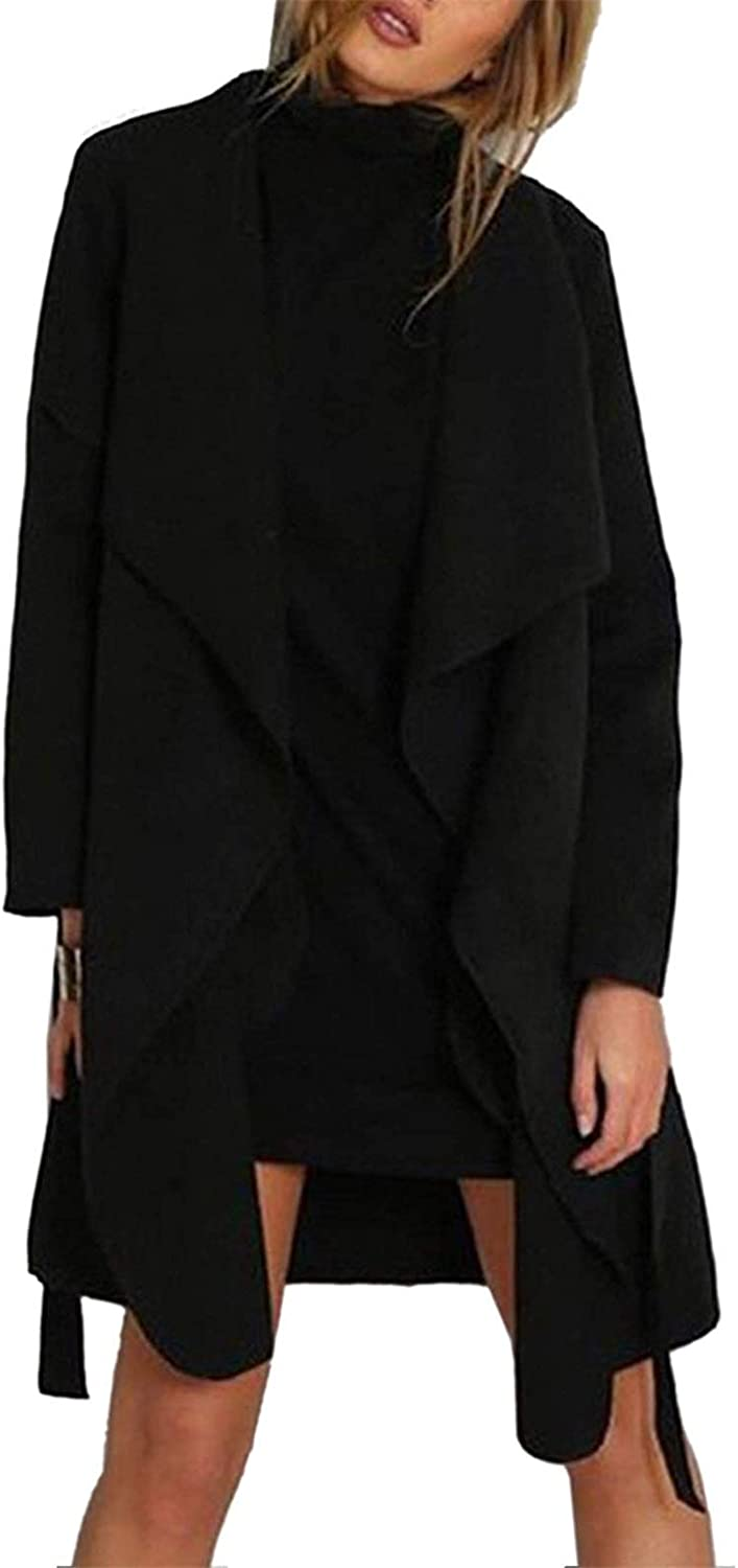 ALING Women's Casual Long Sleeve Lapel Pocket Outwear Trench Coat Cardigan with Belt
