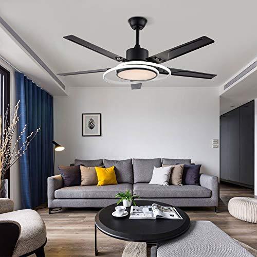 Ventilador de techo de 100 cm con luz LED y mando a distancia de 5 hojas, color champán, ventilador de techo telescópico para decoración del hogar, dormitorio, dormitorio