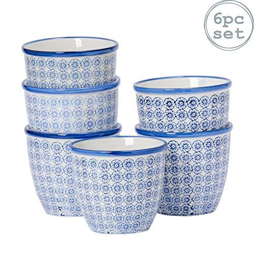 Nicola Spring Pot de Fleurs à Motifs. Pot de Fleurs en Porcelaine pour l'intérieur/l'extérieur - Motifs imprimés Fleur Bleue x6