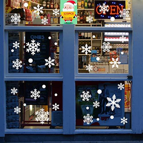 BESTZY 123 Piezas Pegatinas de Navidad Pegatinas de Navidad Pegatina de Pared Removible Navidad Copos Nieve Stickers Decoration Invierno Decoración Pegatinas Atmósfera Romántico de Chrismas Pegatinas
