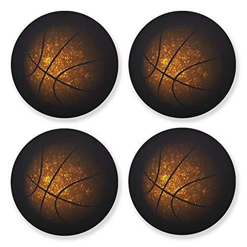xigua Posavasos de 4 piezas para bebidas, juego de posavasos de madera absorbente Galaxy Baloncesto, base de corcho, tazas para decoración de la oficina del hogar