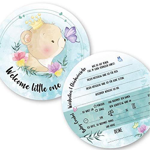 """Babyparty Spiele rate mal Karten (25 Karten, Deutsch, Motiv""""Bär"""") - Babyshower Ratespiel Mädchen und Junge - Baby Orakel Deko (Rund (Durchmesser 14,8 cm))"""