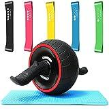 Set de Gimnasio - Kit de Musculación - Rueda Abdominal - Bandas Elásticas para Entrenar Muscular Abdominales Fitness Ejercicio en Casa Gym
