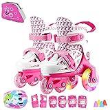 Sumeber - Patines en línea de tamaño ajustable para niños, 3 colores a elegir, color rosa/blanco, tamaño EU 31-34 UK 12.5-2