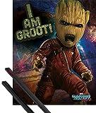1art1 Guardianes De La Galaxia Póster Mini (50x40 cm) Vol. 2, Angry Groot Y 1 Lote De 2 Varillas Negras