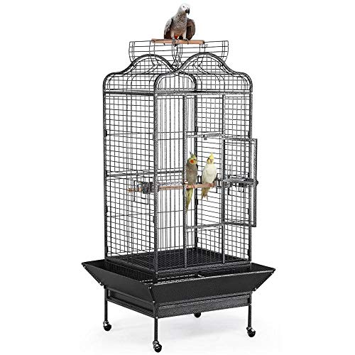 Yaheetech Wrought Iron Rolling Open Play Top Large Parrot Bird Cage for Mini Macaw Goffin Cockatoo...