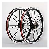 NUE Bicicleta plegable de ruedas de 16 pulgadas de aleación de aluminio llanta delantera trasera 2 4 Cubo de freno V Con 3 velocidades Baja Resistencia Rueda libre Negro (un par de ruedas) CN