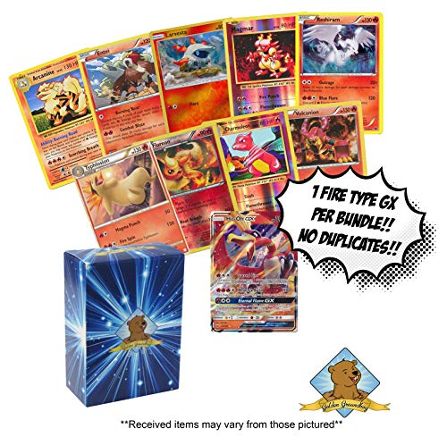 10 Random Fire Type Pokemon Card Lot - Featuring 1 GX Fire Type - A Mix of Foils - Rares - Common/Uncommons! No Duplication! Includes Golden Groundhog Storage Box!