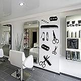 TYLPK Hair Beauty Salon Barbershop Wall Decal Shaver Pin Set peine Tijeras Diseño creativo Poster Herramientas de peluquería Pegatinas 42x106cm