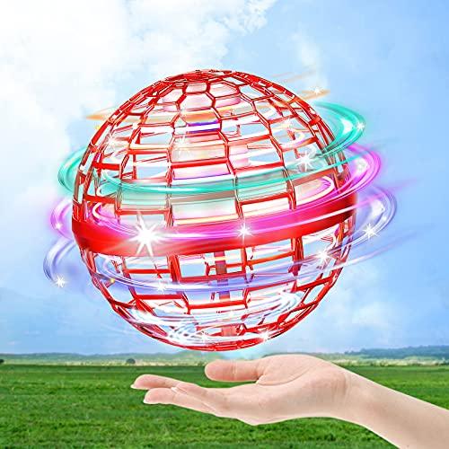 hctaw Flynova PRO Flying Orb, Mini Drone Flying Ball Spinner 360 ° Girevole UFO, Palla Volante Giocattoli Incorporato LED RGB Dritto per Bambini Adulto Esterno e Interno (Rosso)