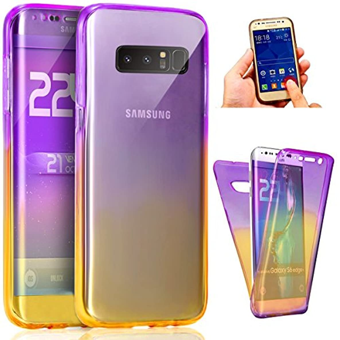 Galaxy Note 8 Case,ikasus Full-Body 360 Coverage Protective Gradient Color Ultra-Slim Scratch-Resistant Front + Back Full Coverage Soft Clear TPU Silicone Rubber Case for Galaxy Note 8,Purple Yellow