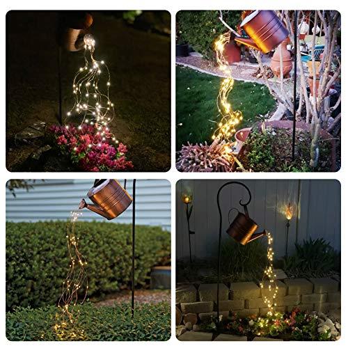 Regadera con LED, regadera de jardín, ducha de estrellas, decoración de luz LED con temporizador, regadera decorativa, arte al aire libre, cadena de luces + lámpara + soporte