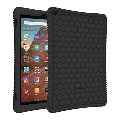 Fintie Silikon Hülle für Das Neue Amazon Fire HD 10 Tablet (9. & 7. Generation - 2019 & 2017) - Leichte rutschfeste Stoßfeste Silikon Tasche Case Kinderfre&liche Schutzhülle, Schwarz