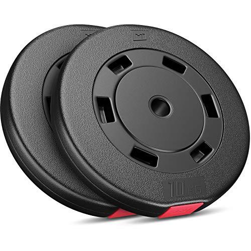 Hop-Sport Hantelscheiben 5, 10, 20, 30 kg Kunststoff Gewichte Hanteln Set Gewichtsscheiben (2 x 10 kg)