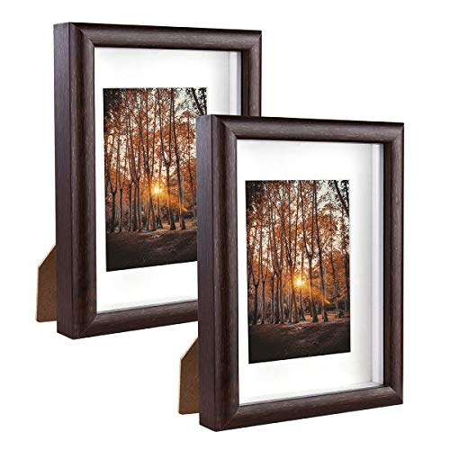 Metrekey 13x18 cm Bilderrahmen 3D Tief mit Glas zum Befüllen, Hozl Rahmen mit Passepartout für 9x13 cm, 2er Set, Braun Fotorahmen für Tischdisplay und Wandbehang